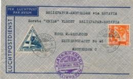 Nederland Indië - 1936 - KLM Vliegbrief Van Balikpapan Via Soerabaja Naar Amsterdam - Niederländisch-Indien