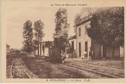 Molières  82   La Gare Interieure-Quai Animée Avec Train A L'Arret -Locomotive Animée - Molieres