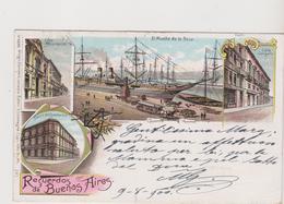 Recuerdo De Buenos Aires ARG - Litho Gruss Con 4 Vedute - F.p - Fine '1800 - Argentina