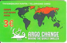 GREECE - World Map, Argo Change By Petroulakis Prepaid Card 3 Euro, Used - Greece