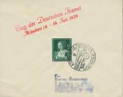 Deutsches Reich 1939 Tag Der Dt. Kunst 700 Sonderstempel Auf Brief (X18113) - Storia Postale