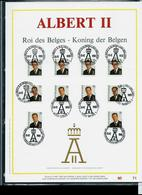 Feuillet OR Du N° 2532  ALBERT II  Roi Des Belges   1 Obl Par Province Du 15/12/93 - FDC