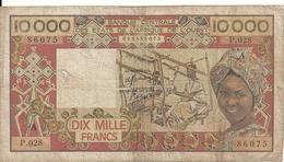 COTE D'IVOIRE 10000 FRANCS ND1986 VG+ P 109A H - Côte D'Ivoire