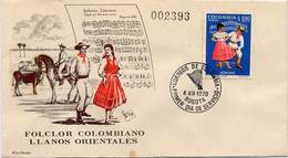 Lote 1206F, Colombia, 1971, SPD-FDC, Bailes Y Trajes Tipicos, Joropo, Dance, Music, Woman, Horse - Colombia