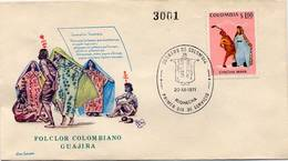 Lote 1207F, Colombia, 1971, SPD-FDC, Bailes Y Trajes Tipicos, Chicha Maya, Dance, Music, Woman, Indigenous - Colombia