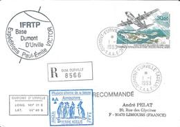 TAAF-Dumont D'Urville-T.Adélie: Lettre Avec Timbre Poste Aérienne N°128 Inauguration De La Piste - 01/01/1993 - Lettres & Documents