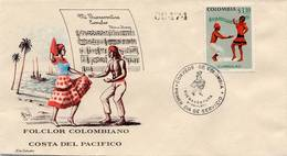 Lote 1208F, Colombia, 1971, SPD-FDC, Bailes Y Trajes Tipicos, Currulao, Dance, Music, Woman, Afro - Colombia