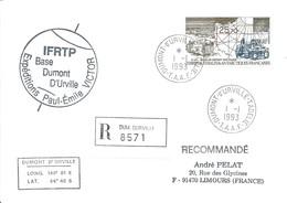TAAF-Dumont D'Urville-T.Adélie: Lettre Avec Timbre Poste Aérienne N°127 D10 Base De Départ Des Raids - 01/01/1993 - Lettres & Documents