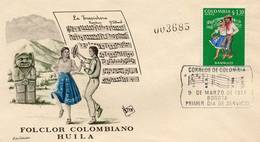 Lote 1209F, Colombia, 1971, SPD-FDC, Bailes Y Trajes Tipicos, Bambuco, Dance, Music, Woman, Huila - Colombia