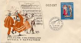 Lote 1210F, Colombia, 1971, SPD-FDC, Bailes Y Trajes Tipicos, Guabina, Dance, Music, Woman - Colombia