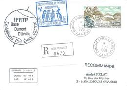TAAF-Dumont D'Urville-T.Adélie: Lettre Avec Timbre Poste Aérienne N°126 Laboratoire De Biologie Animale - 01/01/1993 - Lettres & Documents