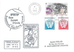 TAAF-Dumont D'Urville-T.Adélie: Lettre Avec Timbres PA N°125 Radios Amateurs + N°171/172 Armoiries - 01/01/1993 - Lettres & Documents