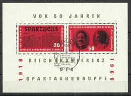 "DDR Bl. 25 ""50 Jahre Spartakusgruppe 1916-1966""  Gestempelt, SSt.Mi 4,00 - Blocs"