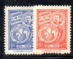 APR1862 - BOLIVIA 1949 ,  Serie Yvert N. 298/299  ***  MNH  (2380A) Upu - Bolivia