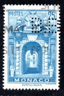 MONACO -- Timbre Perforé Perfin -- B B 15 - 15 -- 25 F. Bleu Porte Du Palais - Errors And Oddities