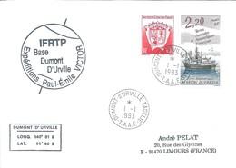 TAAF - Dumont D'Urville-T.Adélie: Lettre Avec Timbres N°174 Marion Dufresne + N°172 Armoiries - 01/01/1993 - Lettres & Documents