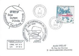 TAAF-Dumont D'Urville-T.Adélie: Lettre Avec Timbre N°181 L'Astrobale Sur La Route De Nord-est - 01/01/1993 - Lettres & Documents