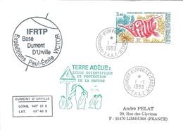 TAAF - Dumont D'Urville-T.Adélie: Lettre Avec Timbre N°178 Poisson-bécasse - 01/01/1993 - Lettres & Documents
