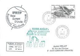 TAAF - Dumont D'Urville-T.Adélie: Lettre Avec Timbre N°176 Skua - 01/01/1993 - Lettres & Documents