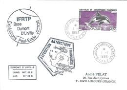 TAAF - Dumont D'Urville-T.Adélie: Lettre Avec Timbre N°177 Orque - 01/01/1993 - Lettres & Documents