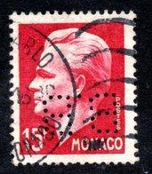 MONACO -- Timbre Perforé Perfin -- B B 15-15 .15 F. Carmin Prince Rainier III - Errors And Oddities