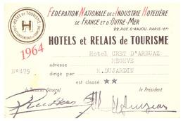 """""""HOTEL CRET D'ARBUAZ  MEGEVE-  1964- FEDERATION NATIONALE DE L'INDUSTRIE HOTELIERE DE FRANCE ET D'OUTRE-MER  N)475 - Cartes De Visite"""