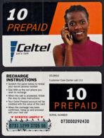Tc044  ZAMBIA,  Celtel, Lady On Phone,  10 Prepaid Units,  Used - Zambia