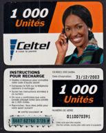 Tc030 DR CONGO, Celtel, Lady On Phone, 1000 Unités, Used - Congo