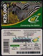 Tc002 ZAMBIA, Zamtel CellZ Phonecard, Zebra, K25,000, Used - Zambia