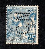 MONACO -- Timbre Perforé Perfin -- C N 12-20 -- 25 C. Bleu Prince Albert 1er - Errors And Oddities