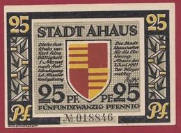 Allemagne 1 Notgeld 25 Pfenning Stadt Ahaus (RARE )  Dans L 'état   Lot N °4185 - [ 3] 1918-1933 : République De Weimar