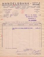 1925: Brief Van ## HANDELSBANK N.V. - Gent & Brussel ##  Aan ## Dhr. Aug. HAERENS, Waterstraat, 2, St. AMANDSBERG ## - 1900 – 1949