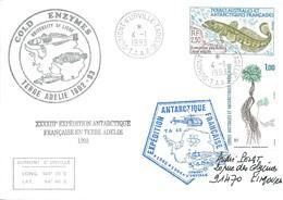 TAAF - Dumont D'Urville-T.Adélie: Lettre Avec Timbres N°164 Flore Et N°166 Légine Australe - 04/01/1993 - Lettres & Documents
