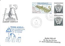 TAAF - Dumont D'Urville-T.Adélie: Lettre Avec Timbres N°163 Armoiries Et N°166 Légine Australe - 04/01/1993 - Lettres & Documents