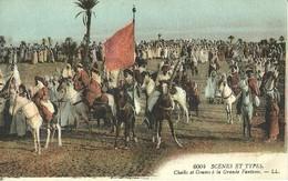 """4676"""" SCENES ET TYPES-CHEIKS ET GOUMS A LA GRANDE FANTASIA """"ANIMATA-CART. POST. OR. NON SPED. - Algérie"""