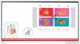 FDC De China Chine : (15) 1998 Hong Kong - Année De Tigre SG MS919 - 1997-... Región Administrativa Especial De China