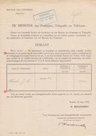 1937: BESTUUR Der POSTERIJEN: Graden En Jaarwedden ...: Aan Dhr. J.A. HAECK, Opsteller 2° Klas. Officiële Medeling ... - Europe