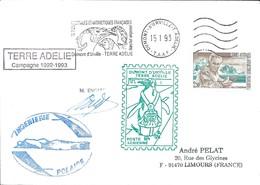TAAF - Dumont D'Urville-T.Adélie: Lettre Avec Timbre N°167 Tchernia + OMEC SATAS Du 21/01/1993 - Lettres & Documents