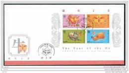 FDC De China Chine : (24) 1997 Hong Kong - Année De Boeuf SG MS878 - 1997-... Région Administrative Chinoise