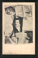 AK Rossini Im Portrait Umringt Von Notenblättern - Artisti
