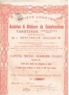 Titre Ancien - Société Anonyme Des Ateliers & Aciéries De Taretzkoe à Droujkofka (Donetz) - Titre De 1924 - - Rusia