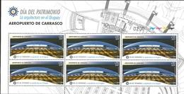 J) 2015 URUGUAY, HERITAGE DAY, ARCHITECTURE IN URUGUAY, CARRASCO AIRPORT, SOUVENIR SHEET, MNH - Uruguay