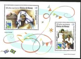J) 2013 URUGUAY, 100 YEARS OF BIRTH VINICIUS MORAES, SOUVENIR SHEET, MNH - Uruguay