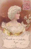1903 CPA. FEMME FANCY RELIEF VETEMENT D'EPOQUE. CIRCULEE URUGUAY- BLEUP - Femmes