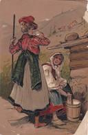 1903 CPA. FEMME FOLK LAITERE BERGERE, EN RELIEF. TIMBRE A PAIR. CIRCULEE URUGUAY- BLEUP - Personnages