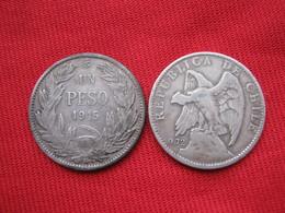 Chile 1 Peso 1915 Plata, Silver, Argent Km 152.4 - Chile