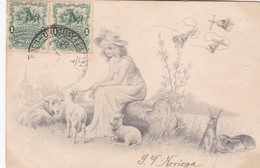 1903 CPA. JEUNNE FEMME AVEC SHAPEAU & NATURE PAYSAGE LANDSCAPE. TIMBRE A PAIR. CIRCULEE URUGUAY- BLEUP - Femmes