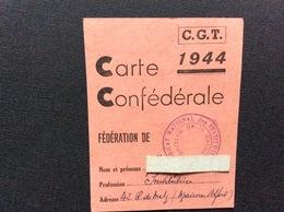CARTE CONFEDERALE CONFÉDÉRATION GÉNÉRALE DU TRAVAIL CGT 1944 *Syndicat National Des Institutrices - Documentos Históricos