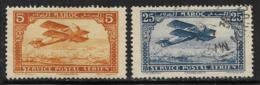 French Morocco Scott #C1 Mint Hinged, C2 Used Biplane, 1922,1927, #C2 Has Small Thin - Marocco (1891-1956)