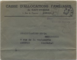 DAGUIN Temporaire Annonay 1948 - Storia Postale